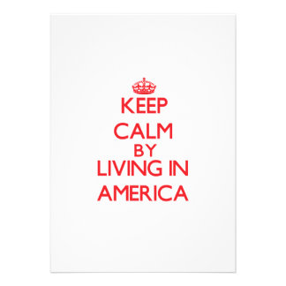 Mantenha a calma vivendo em América Convites Personalizados