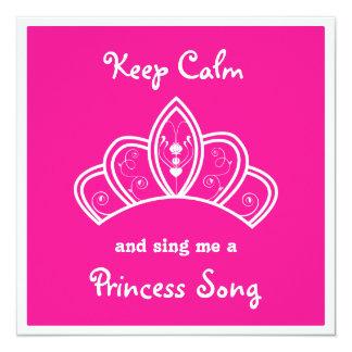 Mantenha a princesa cor-de-rosa calma Canção Convite Quadrado 13.35 X 13.35cm
