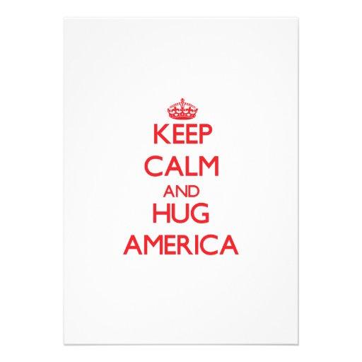 Mantenha calmo e abraço América Convite Personalizado