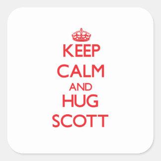Mantenha calmo e ABRAÇO Scott Adesivo Quadrado