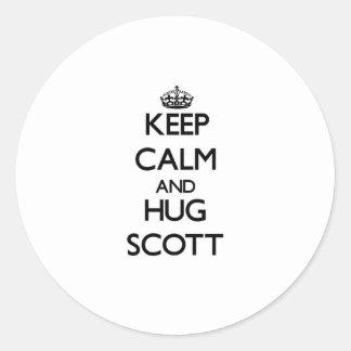 Mantenha calmo e abraço Scott Adesivo Em Formato Redondo