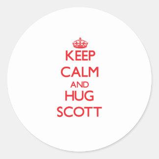 Mantenha calmo e abraço Scott Adesivos Redondos