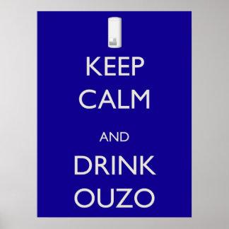 Mantenha calmo e bebida Ouzo Pôster