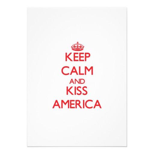 Mantenha calmo e beijo América Convites Personalizados