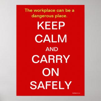 Mantenha calmo e continue o sinal de saúde e de se pôster