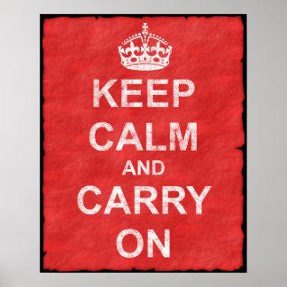 Mantenha calmo e continue o vintage pôster