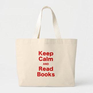 Mantenha calmo e leia livros bolsa para compra