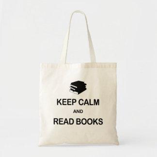 Mantenha calmo e leia livros sacola tote budget