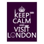 Mantenha calmo e visita Londres (alguma cor) Cartões Postais