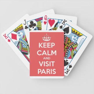 Mantenha calmo e visita Paris Carta De Baralho