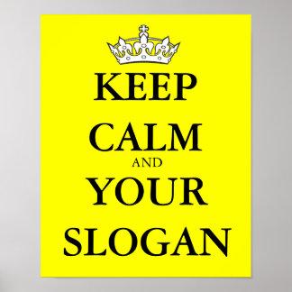 Mantenha calmo seu slogan favorito feito sob pôster