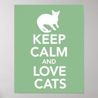 Mantenha o impressão dos gatos da calma e do amor