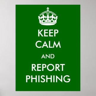 Mantenha o poster de Phishing da calma e do Pôster