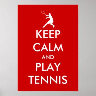 Mantenha o poster do tênis da calma e do jogo pôster