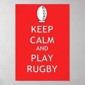 Mantenha o rugby da calma & do jogo pôster