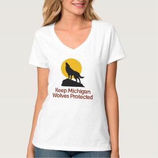 Mantenha o t-shirt protegido lobos de Michigan: