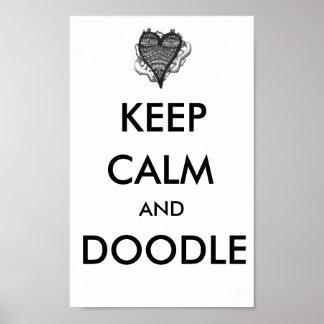 Mantenha poster calmo e do Doodle