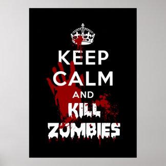 Mantenha poster engraçado calmo e do matar dos zom