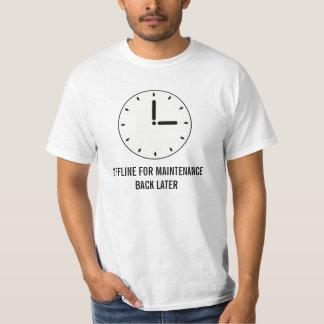 Manutenção programada engraçada de face do relógio camiseta