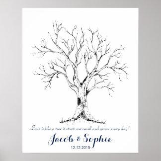 mão da árvore do livro de hóspedes do casamento da poster
