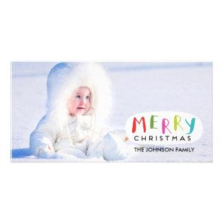 Mão do cartão com fotos | do Feliz Natal rotulada Cartão Com Foto