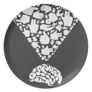 Mão do cérebro louça de jantar