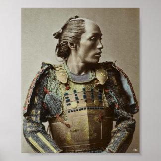 Mão japonesa da foto do vintage do samurai colorid poster