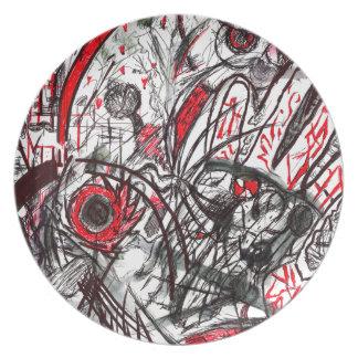 Mãos do desenho da caneta da raiva prato