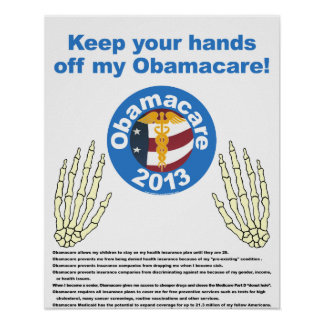 Mãos fora de meu poster de Obamacare Pôster