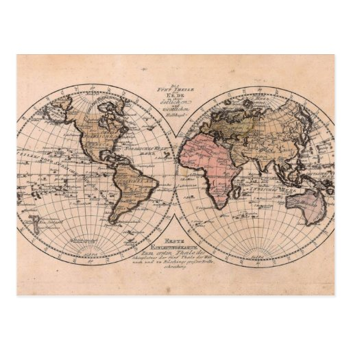 #Map do #Antique do #Vintage do mundo Cartões Postais