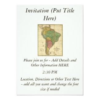 Mapa 1826 de Ámérica do Sul do vintage por Anthony Convite 13.97 X 19.05cm
