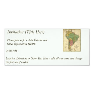 """Mapa 1826 de Ámérica do Sul do vintage por Anthony Convite 10.16"""" X 23.49cm"""