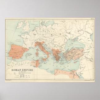Mapa 1895 do império romano do vintage poster