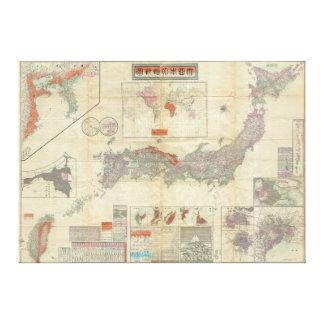 Mapa 1895 do japonês de Meiji 28 de Japão imperial Impressão Em Tela
