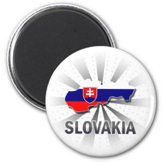 Mapa 2,0 da bandeira de Slovakia Ímã Redondo 5.08cm