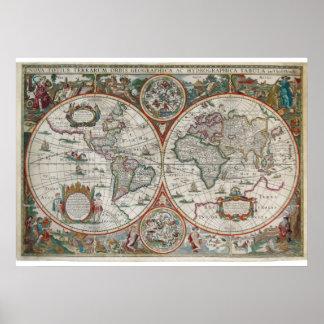 Mapa adiantado, cor surpreendente e pintura, pôster