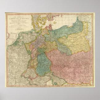 Mapa alemão do atlas do império pôster