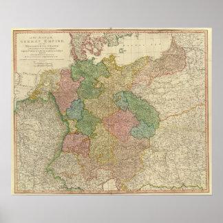 Mapa alemão do império poster