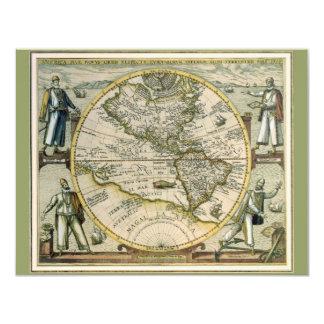 Mapa antigo, América Sive Novus Orbis, 1596 Convite