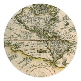 Mapa antigo, América Sive Novus Orbis, 1596 Convite Quadrado 13.35 X 13.35cm