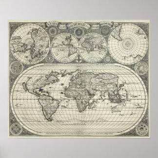 Mapa antigo da réplica do poster do mundo pôster