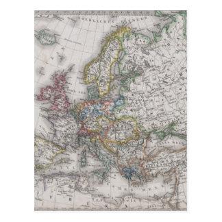 Mapa antigo de Europa cerca de 1862 Cartão Postal