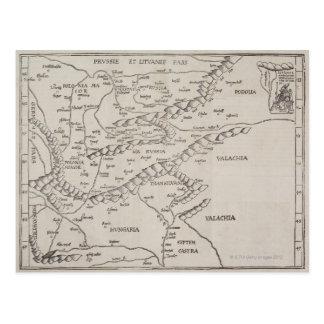 Mapa antigo de Europa Oriental Cartão Postal