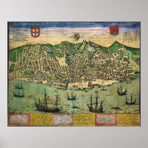 Mapa antigo do vintage; Plano de cidade de Lisboa, Poster