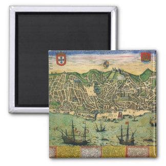 Mapa antigo, plano de cidade de Lisboa, Portugal, Ímã Quadrado