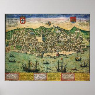 Mapa antigo, plano de cidade de Lisboa, Portugal, Pôster
