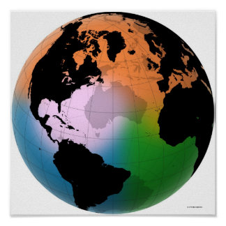 Mapa atual norte de Oceano Atlântico Poster