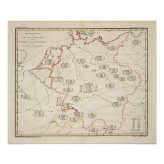 Mapa botânico de Alemanha Poster