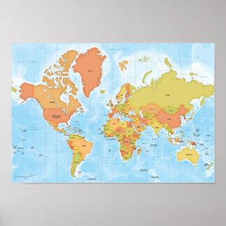 Mapa brilhante do mundo pôster