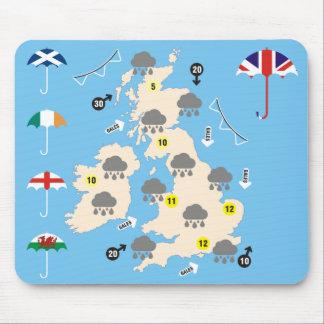 Mapa BRITÂNICO da previsão de tempo Mouse Pad